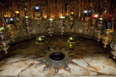 Nische in Geburtsgrotte in Betlehem