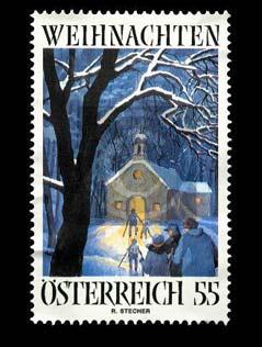 """Weihnachtsbriefmarke 2005 """"Mettengang"""" Motiv von Altbischof Reinhold Stecher"""