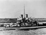 """Im Bild: HMS """"Glowworm"""", einer der britischen Monitore auf der Donau."""