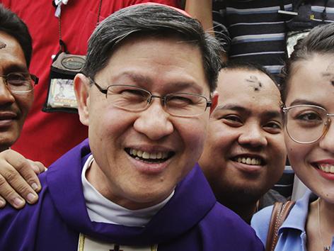 Kardinal Tagle nach dem Aschermittwoch Gottesdienst in Manila