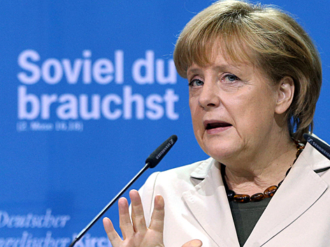 Angela Merkel beim Kirchentag 2013