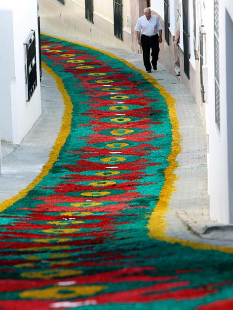 Blumenteppich im südspanischen Dorf Valenzuela