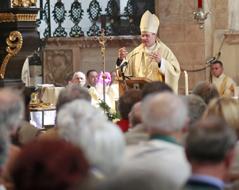 Bischog Alois Schwarz spricht im Gurker Dom zur Gemeinde