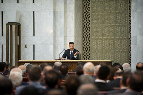 Syriens Präsident Bashar al-Asad vor dem Zentralkomitee der al-Baath-Partei