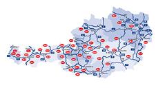 Übersichtskarte der Ö3-Frequenzen in Österreich