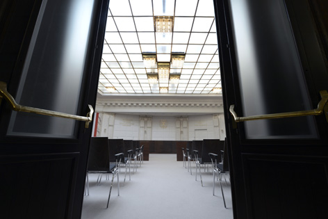 Der Verhandlungssaal des Verfassungsgerichtshofs