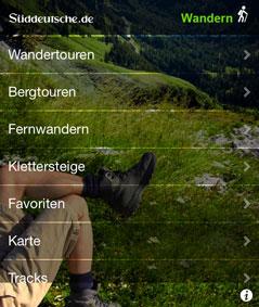 """Screenshot: App """"Wandern"""" der Süddeutshen Zeitung"""