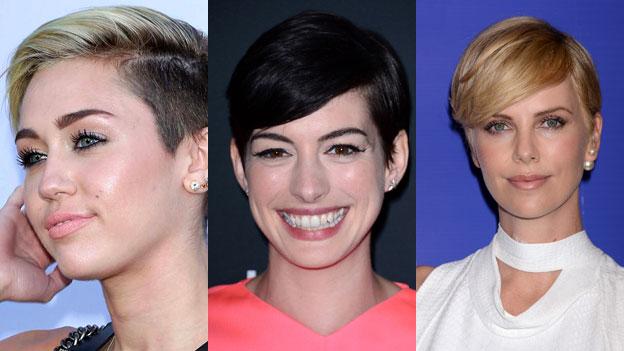 Miley Cyrus, Anna Hathaway und Charlize Theron mit kurzen Haaren