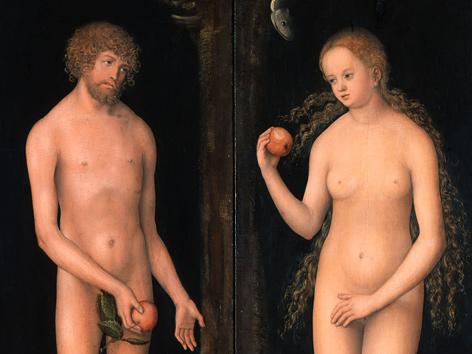 Adam und Eva auf einem Gemälde von Lukas Cranach d. Ä. (1472 bis 1553), Bildausschnitt