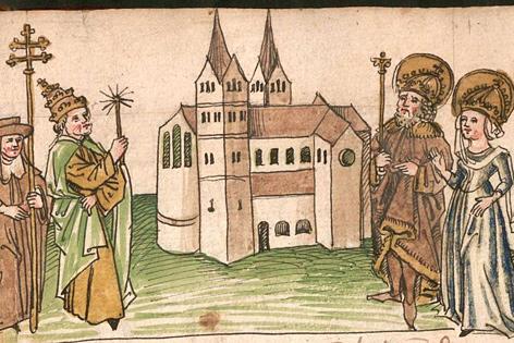 Aus der Kemptener Klosterchronik: Kaiser Karl der Große stiftet mit seiner Gattin Hildegard das Kemptener Kloster