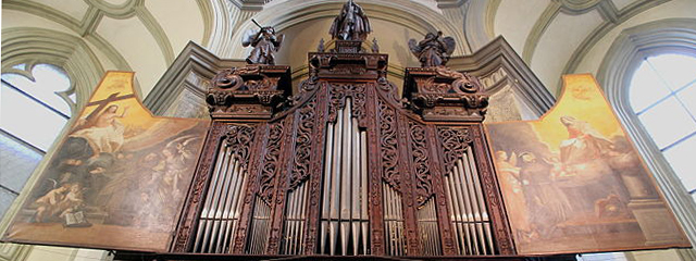 Wöckherl-Orgel, die älteste bespielbare Orgel Wiens aus dem Jahr 1642 mit geöffneten Flügeln