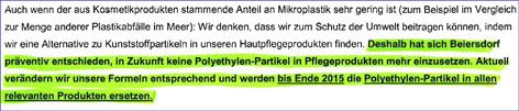 Faksimile einer Stellungnahme von Beiersdorf