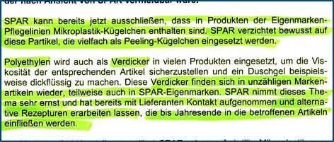 Faksimile eines Schreibens von SPAR
