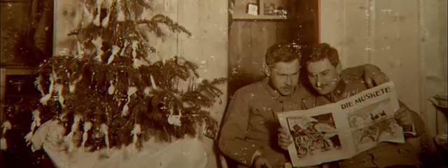 Soldaten vor dem Weihnachtsbaum, erster Weltkrieg