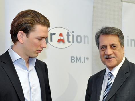 Minister Sebastian Kurz und IGGiÖ-Präsident Fuat Sanac