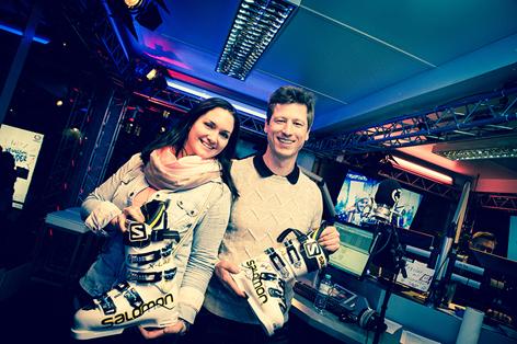 Hannes Reichelt mit Gabi Hiller in der Ö3-Wunschhütte