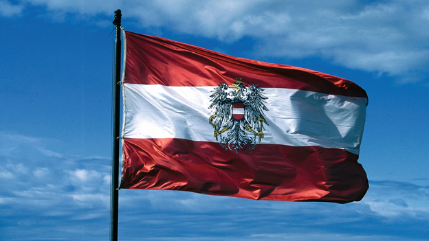 Österreich-Fahne weht im Wind