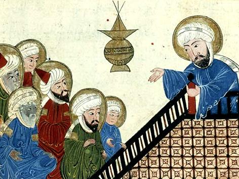 Der Prophet Mohammed predigt vor Anhängern, Illustration in einer osmanischen Handschrift, 17. Jhdt.