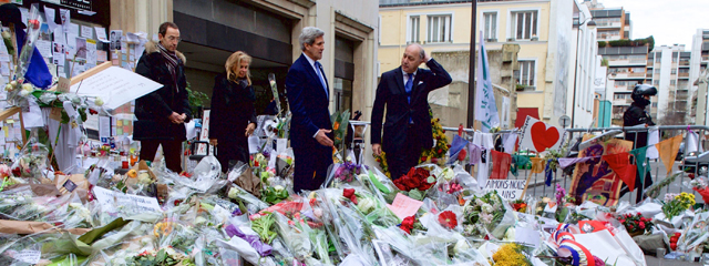 John Kerry, Laurent Fabius,  Francois Vaughn, Jane Hartley