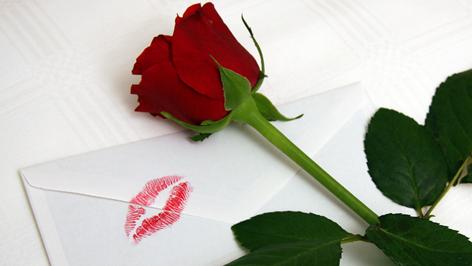 Liebesbrief mit Lippenabdruck
