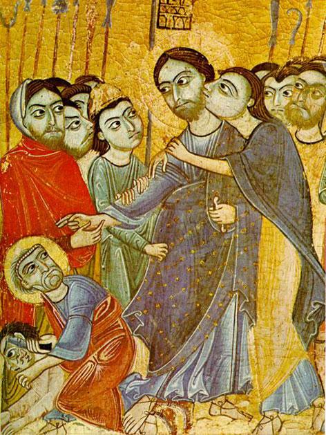 Jesus und Judas. Gemälde aus dem 12. Jahrhundert, Urheber unbekannt