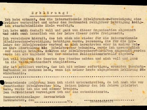"""Abschrift einer Erklärung des """"Abschwörens"""" für Bibelforscher, KZ Ravensbrück"""