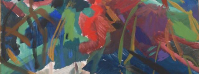 farbenfrohes Detail aus einem Gemälde Max Weilers