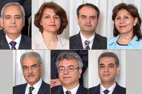 """Sieben Porträts der """"Yaran"""", der Gruppe, die für die Administration der iranischen Bahai Gemeinde zuständig war und seit über sieben Jahren inhaftiert ist"""