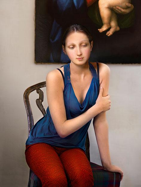 """""""Granducca"""" Kunstwerk von Dorothee Golz Madonnengesicht mit Körper einer gegenwärtigen Jugendlichen"""