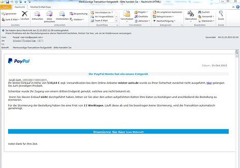 Screenshot des falschen PayPal-Mails