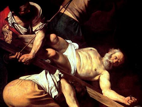 Ausschnitt aus Caravaggios Die Kreuzigung des Apostels Petrus (1601/1604)