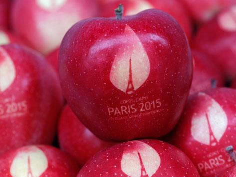 """Äpfel mit Eifelturm und Schrift """"Paris 2015"""". Präsent zum Weltklimagipfel"""