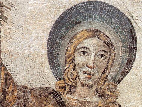 Jesus-Bild, Mosaik-Detail aus dem 4. Jahrhundert in der Kirche Santa Constanza in Rom