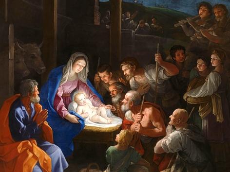 """Guido Renis (1575-1642) Gemälde """"Die Anbetung der Hirten"""", Ausschnitt"""