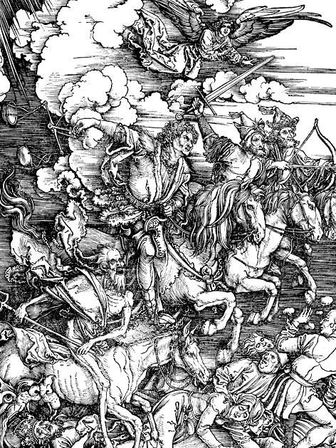 Albrecht Dürer: Die vier apokalyptischen Reiter (Ausschnitt, 1497-1498)