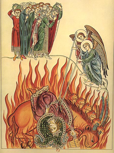 """""""Die Babylonische Hure"""", Darstellung aus dem Hortus Deliciarum der Herrad von Landsberg, um 1180"""