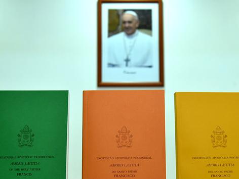 """Verschiedenfarbige Ausgaben des Papst-Schreibens """"Amoris Laetitia"""""""
