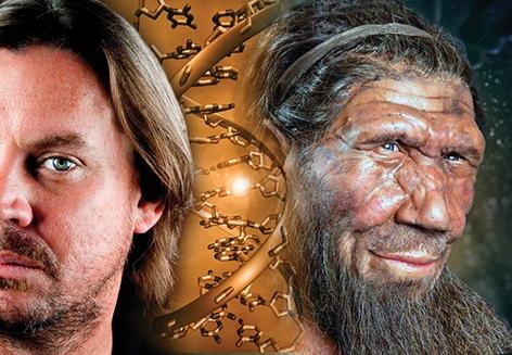 Links ein moderner Mensch mit Bart, rechts die Illustration eines Neandertalers, dazwischen eine DNA-Helix