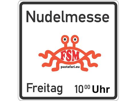 """Schild mit Information über """"Nudelmessen"""""""