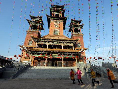 Eine katholische Kirche in chinesischem Baustil in der Provinz Shanxi