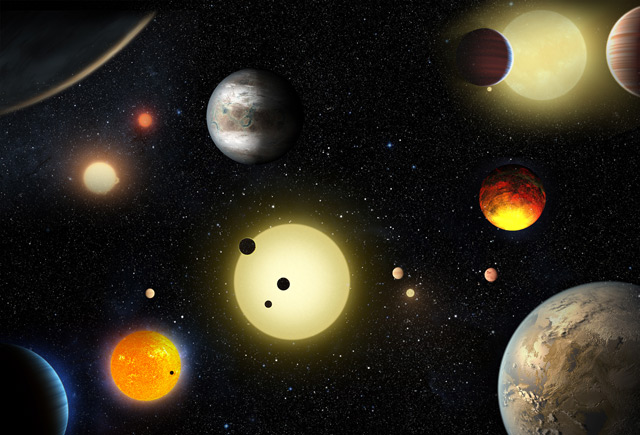 Künstlerische Darstellung von einigen der neu entdeckten Planeten