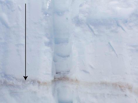 Markante Wüstenstaubschicht in einem Schneeschacht am Jamtalferner
