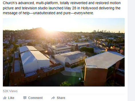 Screenshot der Facebook-Seite von Scientology mit einem Rendering-Bild des neuen Medienzentrums (Scientology Media Productions)