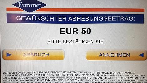 Bankomat mit Warnhinweis