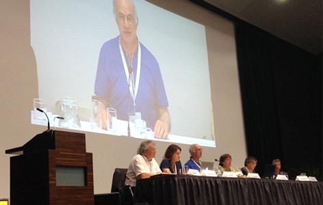 Der Soziologe Michael Burawoy bei der Podiumsdiskussion im Audimax der Uni Wien