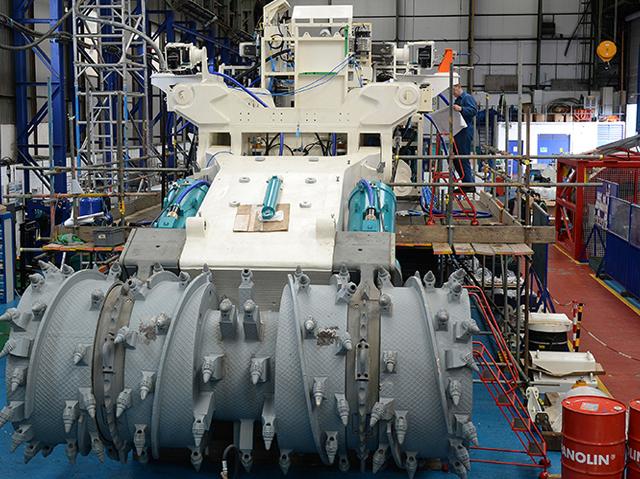 """Ein """"Tiefseemähdrescher"""", entwickelt von einem kanadischen Unternehmen, gebaut in Großbritannien, der Manganknollen vor Papua Neuguinea ernten soll."""