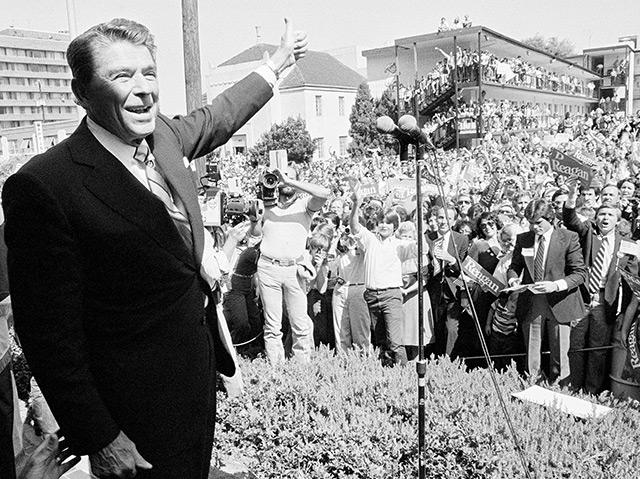 Ronald Reagan bei einer Wahlkampfveranstaltung im Oktober 1980 in Birmingham/Alabama