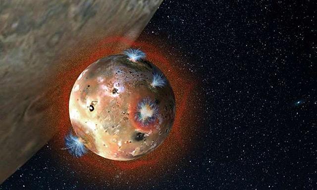 Künstlerische Darstellung: Jupitermon Io mit Vulkanen auf seiner Oberfläche