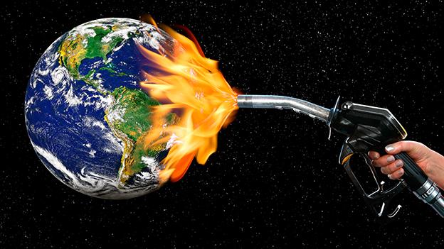 Weltkugel wird durch CO2-Emmissionen angeheizt