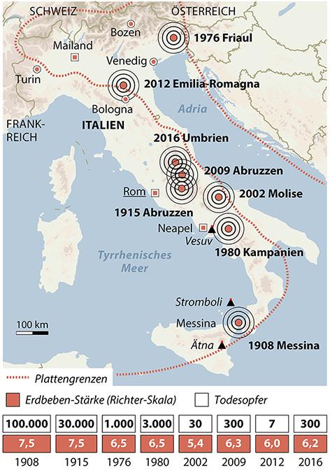 Karte Italien mit Lokalisierung der großen Erdbeben seit 1908